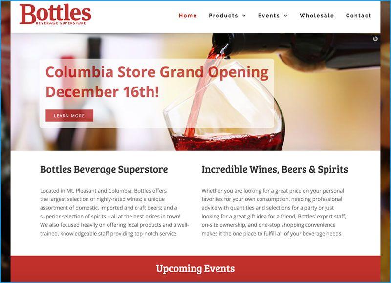 Charleston Web Design for Bottles by DigitalCoast Marketing