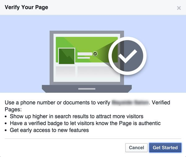 Verify Facebook Page