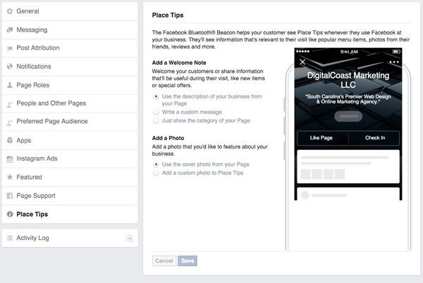 Facebook Place Tips Setting