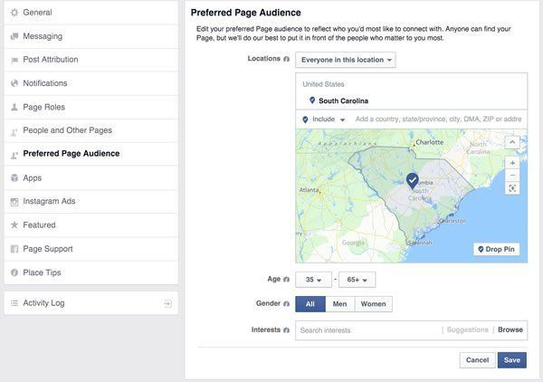 Facebook Preferred Page Audience Setting