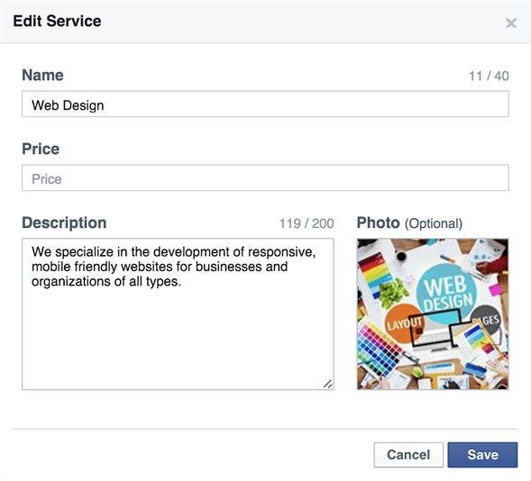 Facebook Services Setting