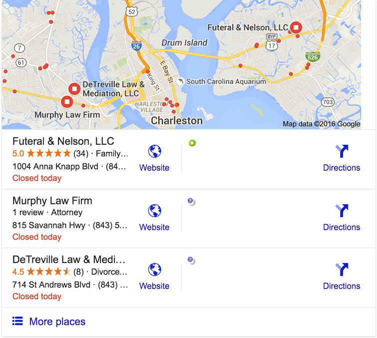 A Guide to Understanding Google's Local 3-Pack ... on google maps coconut grove fl, google maps key west fl, google maps regina sk, google maps weston fl, google map charleston wv, google maps little river sc, google maps parris island sc, google maps south carolina, google maps st. augustine fl, google maps sitka ak, google maps yokosuka japan, old maps charleston sc, google maps clemson sc, google maps long island ny, google maps port canaveral fl, google maps brattleboro vt, google maps murrells inlet sc, google maps new haven ct, google maps memphis, google maps lake wylie sc,